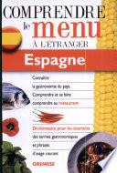 Dictionnaire du menu pour le touriste Espagne