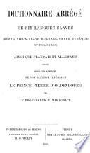 Dictionnaire abrégé de six langues slaves