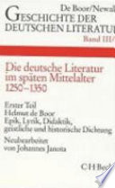 Die deutsche Literatur im sp  ten Mittelalter
