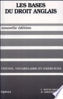 illustration Les Bases Du Droit Anglais, Textes, Vocabulaire Et Exercices