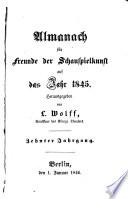 Almanach f  r Freunde der Schauspielkunst auf das Jahr
