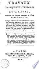 illustration Travaux classiques et littéraires du C. Lavau, professeur de langues anciennes à l'école centrale de Seine et Oise