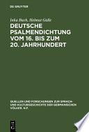 Deutsche Psalmendichtung vom 16. bis zum 20. Jahrhundert