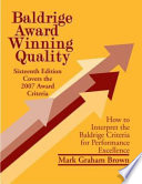 Baldrige Award Winning Quality   16th Edition