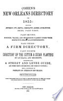 Cohen's New Orleans Directory Including Jefferson City, Gretna, Carrollton, Algiers, and McDonogh