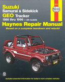 Suzuki Samurai Sidekick and Geo Tracker Automotive Repair Manual