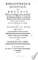 Biblioth  que britannique  ou Recueil extrait des ouvrages anglais p  riodiques et autres