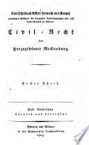 Civil-Recht der herzogthümer Mecklenburg