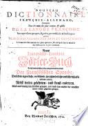 Nouveau Dictionnaire fran  ois allemand et allemand fran  ois