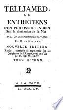 Telliamed, ou Entretiens d'un philosophe indien avec un missionaire françois sur la diminuation de la mer