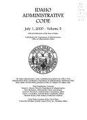 Idaho Administrative Code