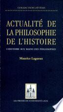 Actualité de la philosophie de l'histoire