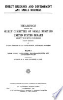 Energy Research and Development and Small Business  Solar energy  continued   The small business and government roles Book PDF