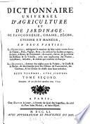 Dictionnaire Universel D Agriculture et de Jardinage  de Fauconnerie  Chasse  Peche  Cuisine et Manege  en Deux Parties