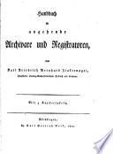 Handbuch für angehende Archivare und Registratoren