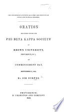 The Influence of Scientific Discovery and Invention on Social and Political Progress  Oration Delivered Before the Phi Beta Kappa Society of Brown University  Providence  R I   on Commencement Day  Etc