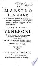 Il Maestro italiano     Riveduto  corretto  ed accresciuto di un Maestro francese     da D  Lodovico dalla Spina   Le Ma  tre italien