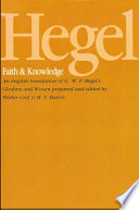 Hegel: Faith and Knowledge The Relation Between Religious Faith And Cognitive Beliefs