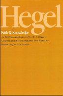 Hegel: Faith and Knowledge