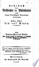 Lehrbuch der Geschichte der Philosophie und einer Kritischen Literatur derselben