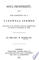 Soul Prosperity; being the substance of a farewell sermon