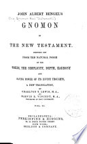 John Albert Bengel s Gnomon of the New Testament