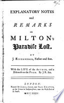 Explanatory Notes and Remarks on Milton s Paradise Lost