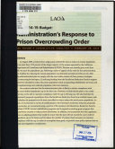 Administration s Response to Prison Overcrowding Order