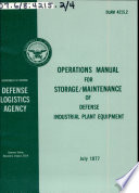 Operations Manual For Storage Maintenance Of Defense Industrial Plant Equipment