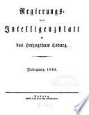 Regierungs- und Intelligenzblatt für das Herzogtum Coburg