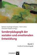 Sonderpädagogik der sozialen und emotionalen Entwicklung
