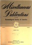 Miscellaneous Publications of the Entomological Society of America