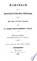 Lehrbuch der historisch-kritischen Einleitung die kanonischen Bücher des Neuen Testaments