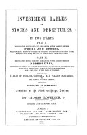 download ebook investment tables for stocks and debentures in two parts ... with tables of english, colonial, and foreign securities pdf epub