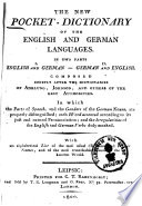 The new pocket dictionary of the English and German languages0