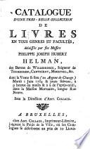 Veilingcatalogus, boeken P.J.H. Helman, 1 juni 1784