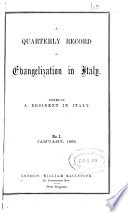 A quarterly record of evangelization in Italy  ed  by a resident in Italy