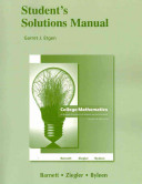Student Solutions Manual for College Mathematics for Business  Economics  Life Sciences and Social Sciences