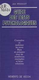 Guide des tests psychologiques