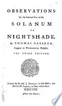 Observations on the internal use of the Nightshade     Third edition