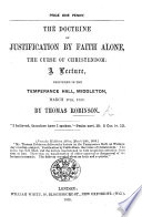 The Doctrine of Justification by Faith Alone the Curse of Christendom  A Lecture