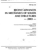 Recent Advances In Mechanics Of Solids And Structures 2003 book