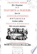 Francisci Rocci ... De navibus et naulo