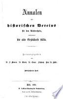 Annalen des Historischen Vereins für den Niederrhein inbesondere das Alte Erzbistum Köln