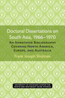 Doctoral dissertations on South Asia, 1966-1970