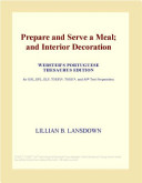 Prepare And Serve A Meal And Interior Decoration Webster S French Thesaurus Edition