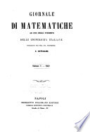 Giornale di matematiche ad uso degli studenti delle universit   italiane
