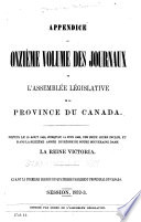 Appendix to the ... Journals of the Legislative Assembly [and the Legislative Council] ...