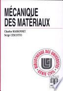 Mécanique Des Materiaux B                                                                     073193 par Charles Massonet, Serge Cescotto