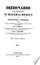 Dizionario Universale Di Materia MedicA